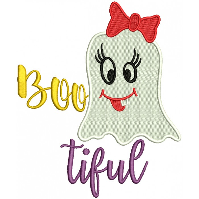 Bootiful Cute Girl Ghost Halloween Filled Machine Embroidery Design Digitized Pattern