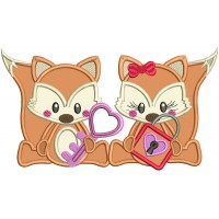 Boy And Girl Fox Holding a Lock and a Key Applique Machine Embroidery Design Digitized Pattern