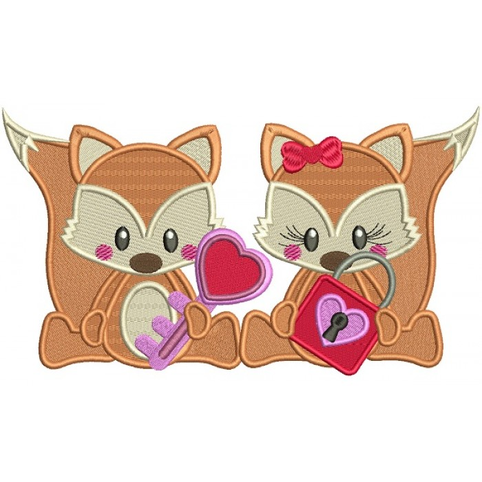 Boy And Girl Fox Holding a Lock and a Key Filled Machine Embroidery Design Digitized Pattern