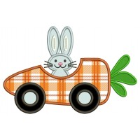 Bunny Inside a Carrot Racing Car Easter Applique Machine Embroidery Design Digitized Pattern