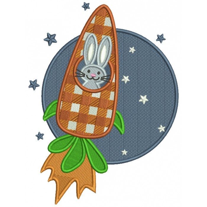 Bunny To The Moon Easter Filled Machine Embroidery Design Digitized Pattern