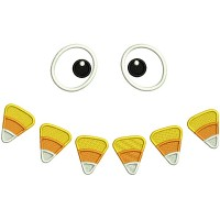 Candy Corn Eyes Halloween Applique Machine Embroidery Design Digitized Pattern