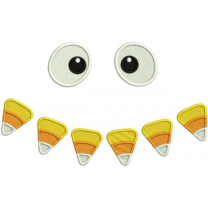 Candy Corn Eyes Halloween Filled Machine Embroidery Design Digitized