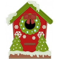 Christmas Birdhouse Applique Machine Embroidery Design Digitized Pattern