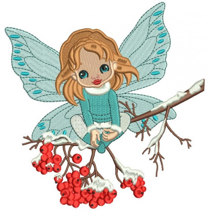 Christmas Fairy Sitting On The Branch Filled Machine Embroidery Design Digitized Pattern