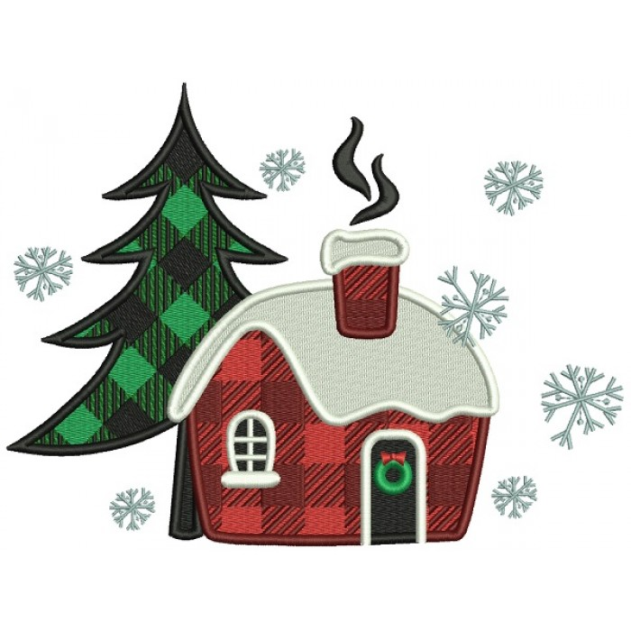 Christmas Tree And Cabin In The Woods Christmas Filled Machine Embroidery Design Digitized Pattern