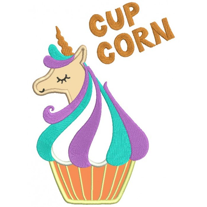 Cup Corn Unicorn Applique Machine Embroidery Design Digitized Pattern