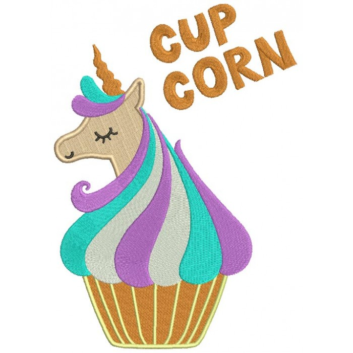Cup Corn Unicorn Filled Machine Embroidery Design Digitized Pattern