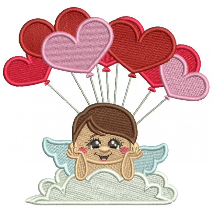 Cupid With Balloons Filled Machine Embroidery Design Digitized Pattern