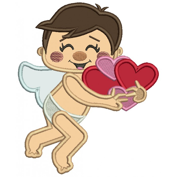 Cupid With Hearts Applique Machine Embroidery Design Digitized Pattern