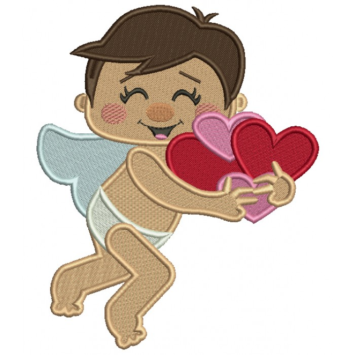 Cupid With Hearts Filled Machine Embroidery Design Digitized Pattern