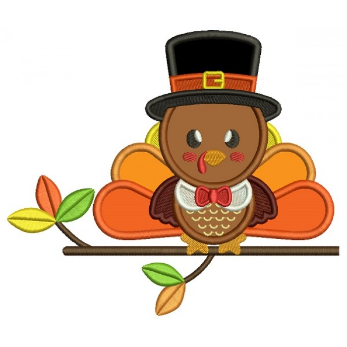 Cute Baby Boy Sitting On The Branch Thanksgiving Turkey Applique Machine Embroidery Design Digitized Pattern