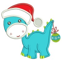 Cute Baby Dino Wearing a Christmas With Ornament on His Tail Hat Applique Machine Embroidery Design Digitized Pattern