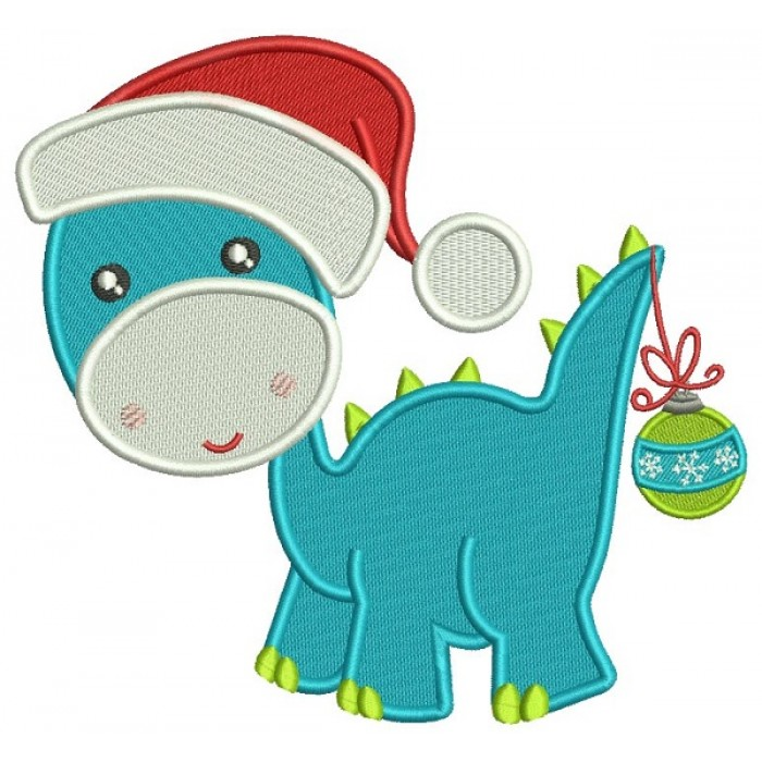 Cute Baby Dino Wearing a Christmas With Ornament on His Tail Hat Filled Machine Embroidery Design Digitized Pattern