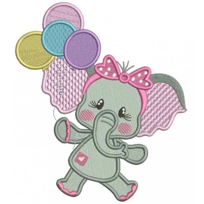 Cute Baby Elephant Holding Balloons Filled Machine Embroidery Design Digitized Pattern
