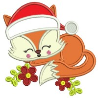 Cute Baby Fox Wearing a Christmas Hat Applique Machine Embroidery Design Digitized Pattern