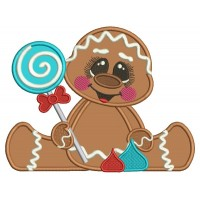 Cute Baby Gingerbread Girl Holding a Lollypop Applique Machine Embroidery Design Digitized Pattern