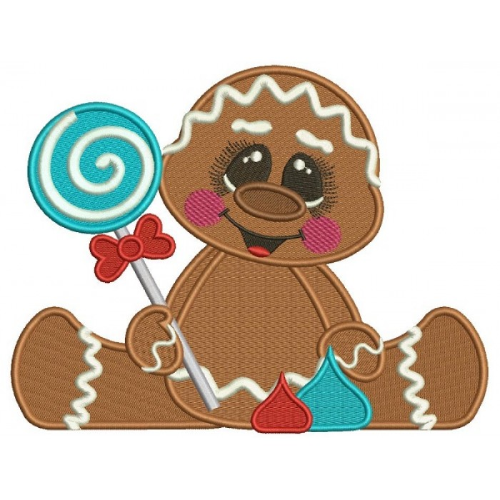 Cute Baby Gingerbread Girl Holding a Lollypop Filled Machine Embroidery Design Digitized Pattern