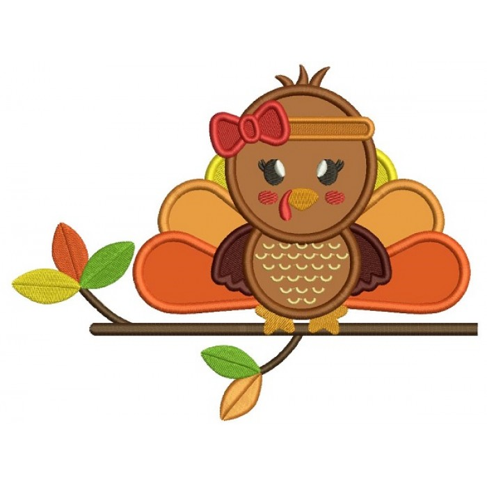 Cute Baby Girl Sitting On The Branch Thanksgiving Turkey Applique Machine Embroidery Design Digitized Pattern