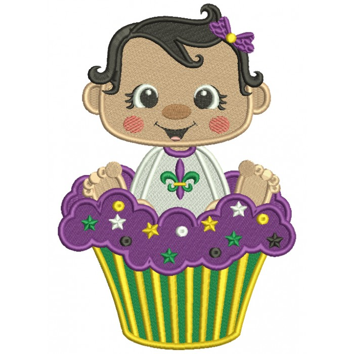 Cute Baby Sitting In The Mardi Gras Cupcake Filled Machine Embroidery Design Digitized Pattern