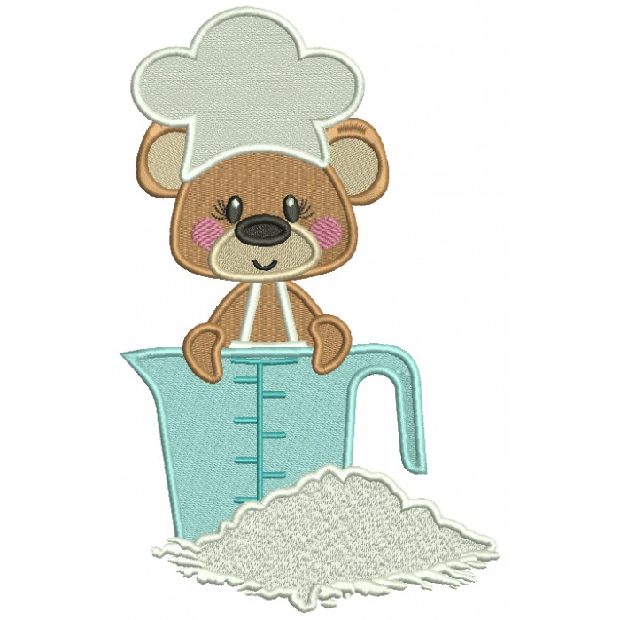 Cute Bear Cook Measureng Flour Filled Machine Embroidery Digitized Design Pattern