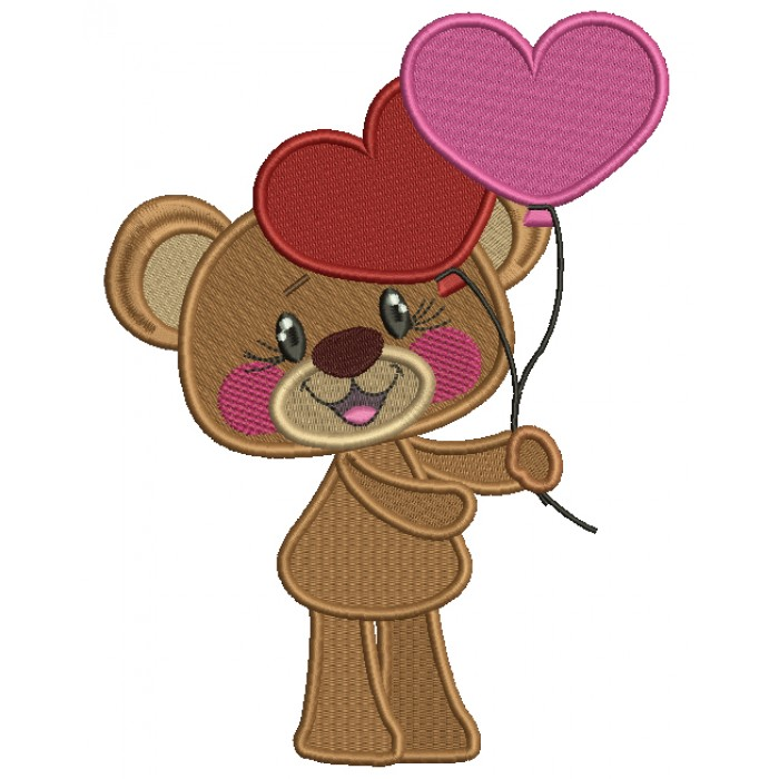 Cute Bear Holding Heart Shaped Balloons Filled Machine Embroidery Design Digitized Pattern