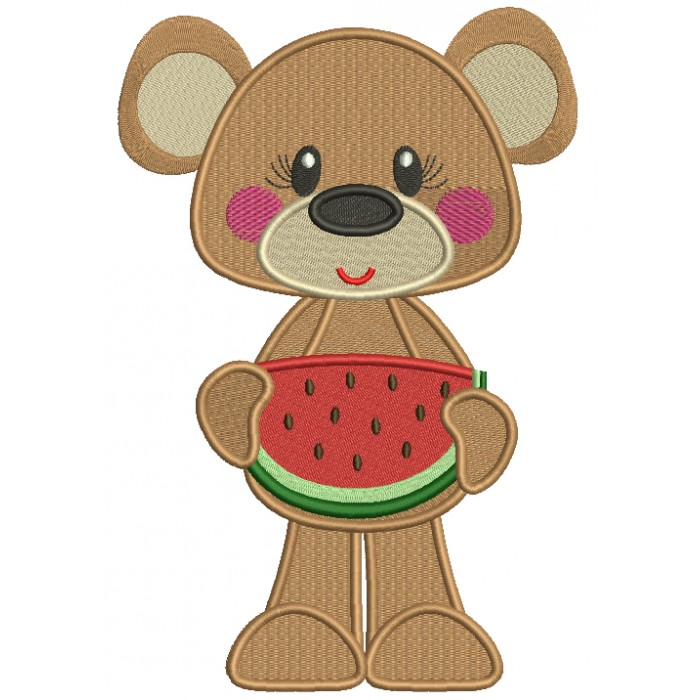 Cute Bear Holding Slice Of Watermelon Filled Machine Embroidery Design Digitized Pattern