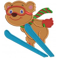 Cute Bear Skiing Christmas Applique Machine Embroidery Design Digitized Pattern