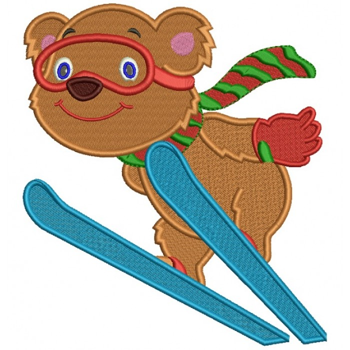 Cute Bear Skiing Christmas Filled Machine Embroidery Design Digitized Pattern