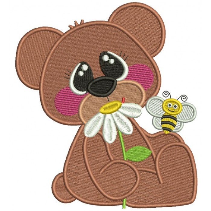 Cute Bear With a Flower and a Bee Filled Machine Embroidery Design Digitized Pattern