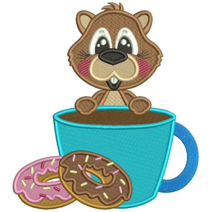 Cute Beaver Eating Donuts Filled Machine Embroidery Design Digitized Pattern