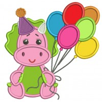 Cute Birthday Dino Holding Balloons Applique Machine Embroidery Design Digitized Pattern