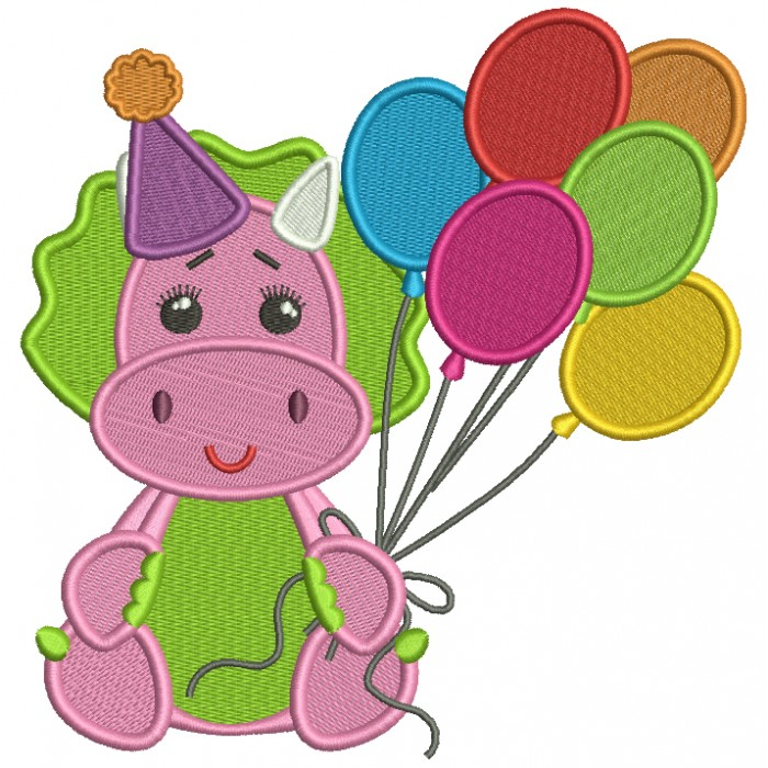 Cute Birthday Dino Holding Balloons Filled Machine Embroidery Design Digitized Pattern