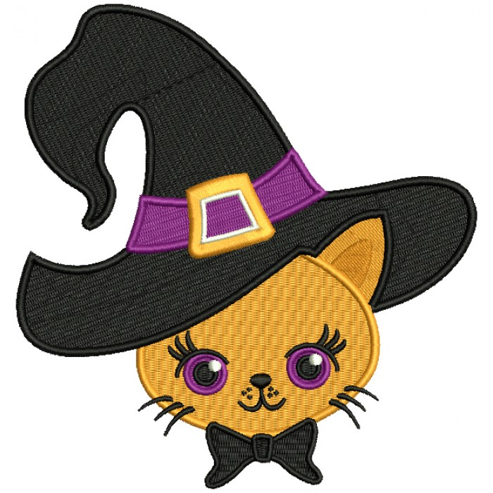 Cute Cat Wearing a Witch Hat Halloween Filled Machine Embroidery Design Digitized Pattern