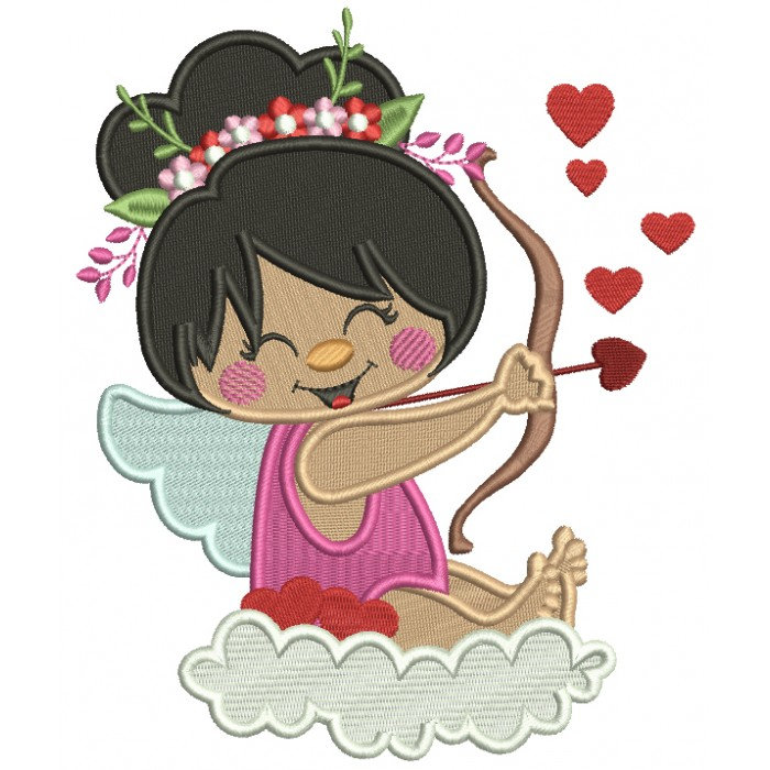 Cute Cupid Girl Sitting On A Cloud Filled Machine Embroidery Design Digitized Pattern