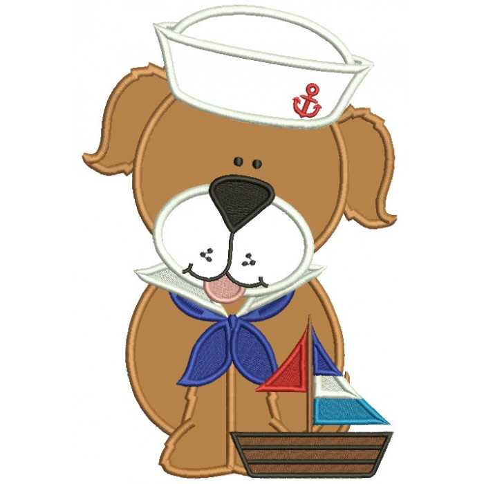 Cute Dog Sailor Applique Machine Embroidery Design Digitized Pattern