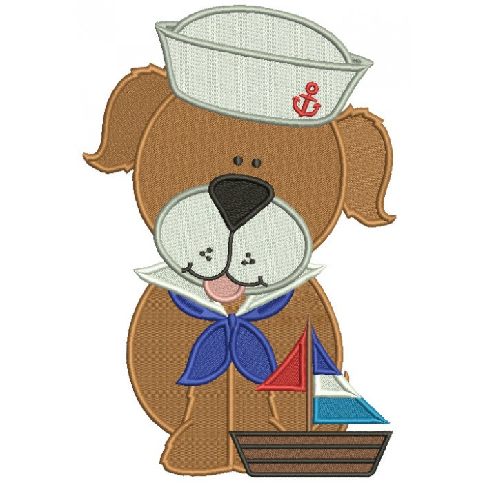Cute Dog Sailor Filled Machine Embroidery Design Digitized Pattern