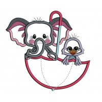 Cute Elephant And Bird Inside Umbrella Applique Machine Embroidery Design Digitized