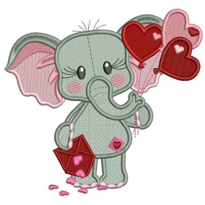 Cute Elephant Holding Letter Full Of Hearts and Heart Shaped Balloons Filled Machine Embroidery Design Digitized Pattern