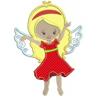 Cute Fairy Wearing Red Dress Applique Machine Embroidery Design Digitized Pattern