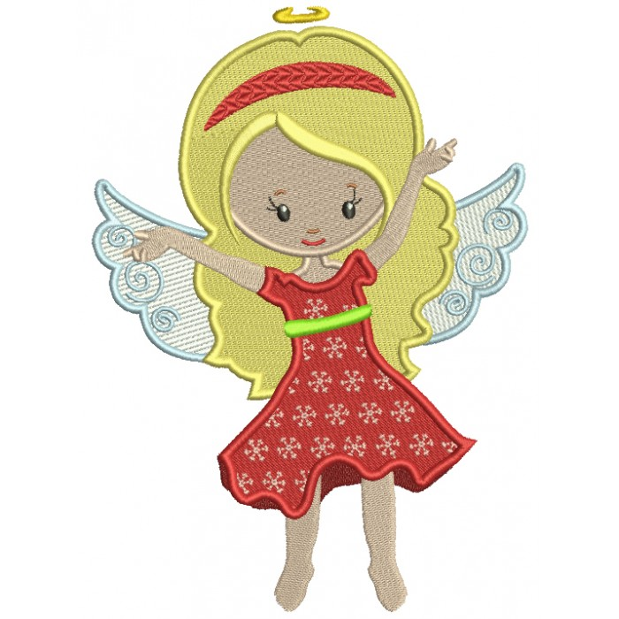 Cute Fairy Wearing Red Dress Filled Machine Embroidery Design Digitized Pattern