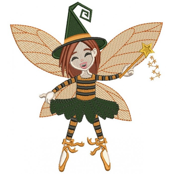 Cute Fairy Witch Halloween Filled Machine Embroidery Design Digitized Pattern