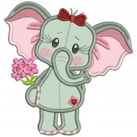 Cute Girl Elephant Holding Flowers Applique Machine Embroidery Design Digitized Pattern
