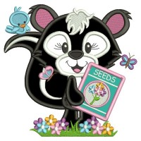 Cute Girl Skunk Planting Seeds Applique Machine Embroidery Design Digitized Pattern