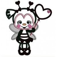 Cute Ladybug With Heart Shaped Balloon Applique Valentine's Day Machine Embroidery Design Digitized Pattern