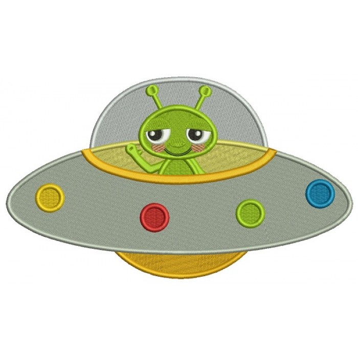 Cute Little Alien Inside Spaceship Filled Machine Embroidery Design Digitized Pattern