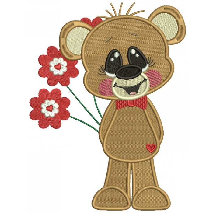 Cute Little Bear Holding Flowers Filled Machine Embroidery Design Digitized Pattern