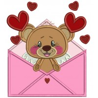 Cute Little Bear Inside Envelope With Hearts Applique Machine Embroidery Design Digitized Pattern