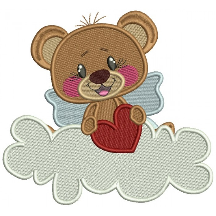 Cute Little Bear Sitting On A Cloud Holding a Big Heart Filled Machine Embroidery Design Digitized Pattern