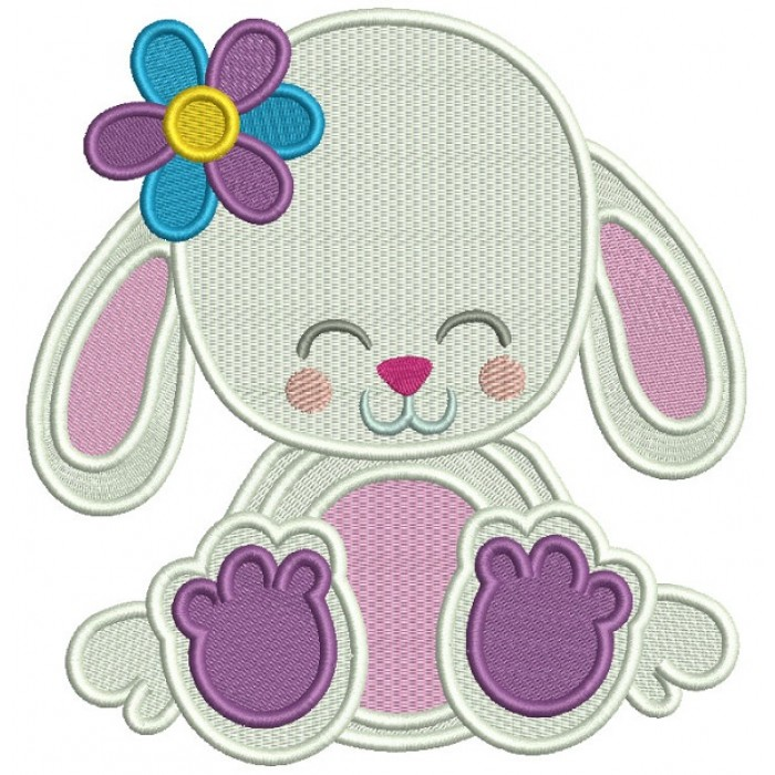 Cute Little Bunny WIth a Flower Summer Filled Machine Embroidery Digitized Design Pattern